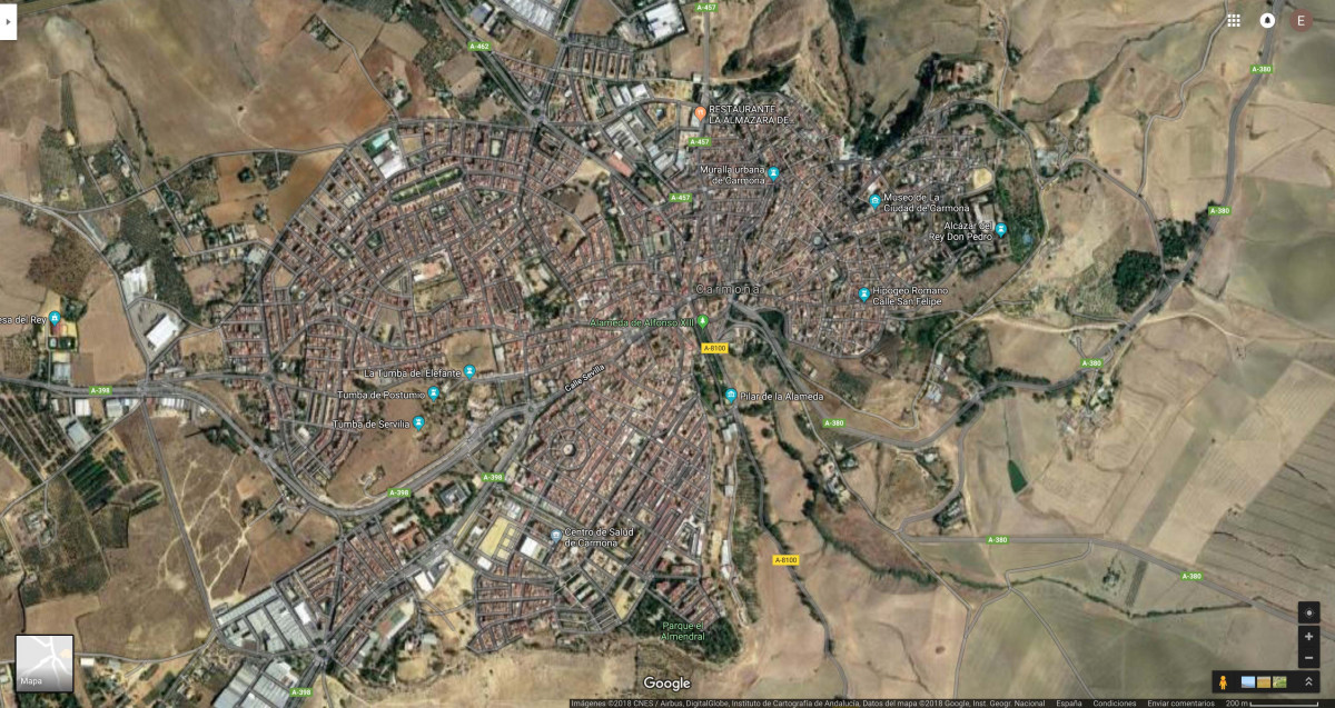 MAPA CARMONA SATELITE GOOGLE MAP